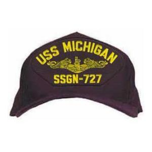 USS Michigan SSGN-727 Cap with Gold Emblem (Dark Navy) (Direct Embroidered)