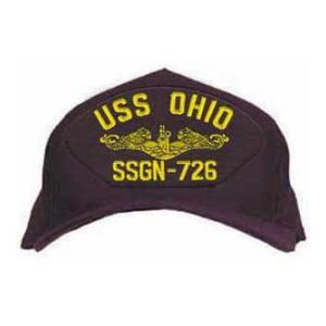 USS Ohio SSGN-726 Cap with Gold Emblem (Dark Navy) (Direct Embroidered)