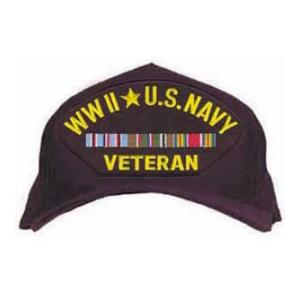 WWII Navy Veteran Cap with 3 Ribbons