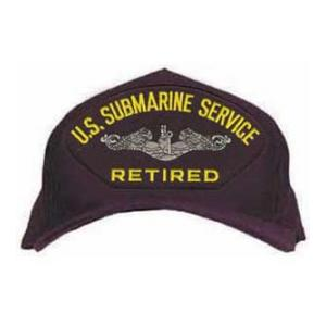 U. S. Submarine Service Retired Cap with Silver Emblem (Dark Navy) (Direct Embroidered)