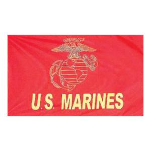 US Marines (Gold) Flag (Red) (3' x 5')
