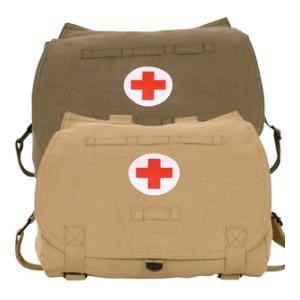 Retro Hungarian Shoulder Bag with Red Cross Imprint