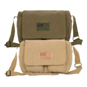 Retro Departure Shoulder Bag with American Flag Patch