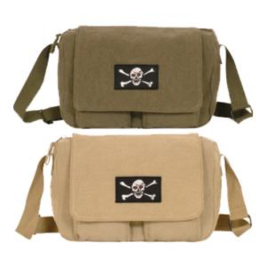 Retro Departure Shoulder Bag with Skull and Crossbones Patch