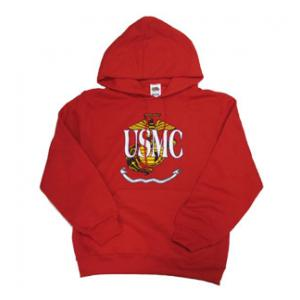 Marine Hooded Long Sleeve Sweatshirt (Red) U.S.M.C. in front of Globe and Anchor