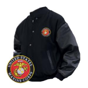 Varsity Legend Jacket Black With Marine Corps Logo