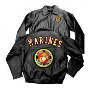 USMC Marines Black Leather Jacket New Logo W/ Insignia