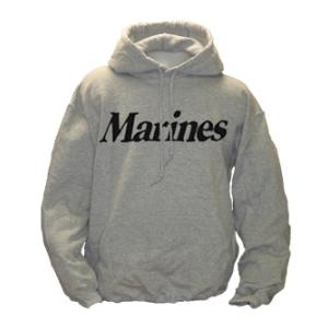 Marine Hooded Long Sleeve Sweatshirt (Gray)