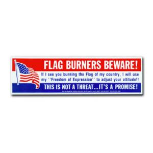 Flag Burners Beware Adjust Your Attitude Bumper Sticker