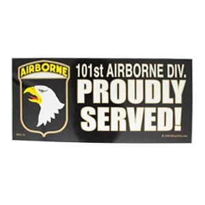 101st Airborne Division Proudly Served Bumper Sticker