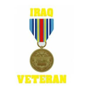 Iraq Veteran Outside Window Decal with Medal