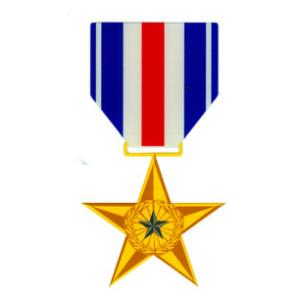 Silver Star Outside Decal with Ribbon