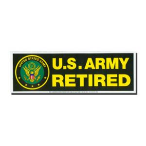 U. S. Army Retired Bumper Sticker Black With Seal