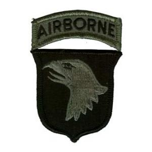 101st Airborne Division Patch with Tab Foliage Green (Velcro Backed)