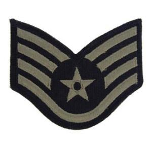 Air Force Staff Sergeant Old Style with Star (Silver On Dark Blue)