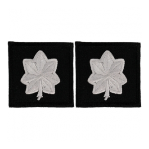 Embroidered Rank Silver on Black Major Patch (Pair)