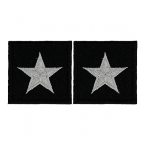 Embroidered Rank Silver on Black Brigadier General Patch (Pair)