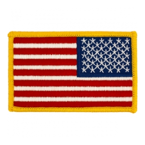American Flag Gold Border Reversed Patch
