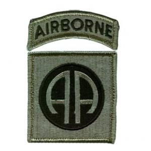 82nd Airborne Division Patch with Tab  Foliage Green (Velcro Backed)
