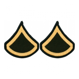 Army Private First Class Chevron (Gold on Green) (Female)