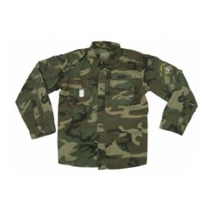 Vintage Style Fatigue Shirt With Military Patches (Woodland)