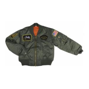 Youth Nylon MA-1 Flight Jacket (Olive Drab) with Insignia Patches