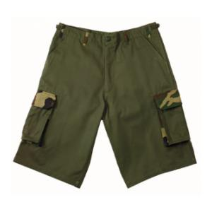 Ultra Force Rigid BDU 6 Pocket Combat Shorts (Olive Drab with Woodland Camo Accents)