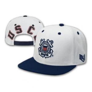 Coast Guard Jumbo Back Text Cap (White & Navy Blue)