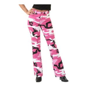 Women's Pink Camoflauge Stretch Flare Pants