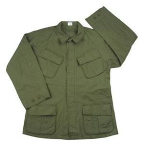Vintage Style Long Sleeve BDU Olive Drab Shirt with Slanted Pockets