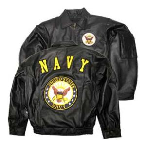 Navy Black Leather Jacket W/ Insignia