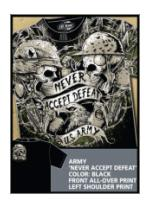 Army 'Never Accept Defeat' All-Over Printed Tee (Black) 7.62 Design