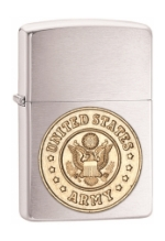 Army Emblem Zippo Lighter (Brushed Chrome)