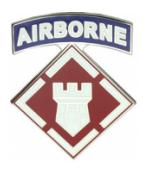 20th Engineer Brigade w/ Airborne Tab Combat Service I.D. Badge