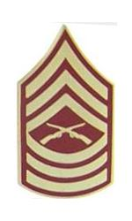 Marine Master Sergeant E-8 Pin (Gold on Red)