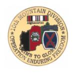 Operation Enduring Freedom  10th Mountain Division Pin