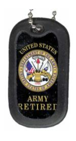 US Army Retired Dog Tag with Seal