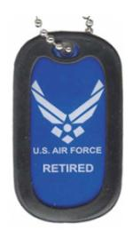 US Air Force Retired Dog Tag with New Logo
