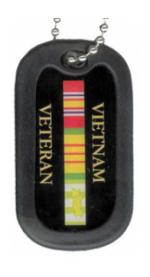 Vietnam Veteran Dog Tag with Ribbons