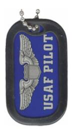 US Air Force Pilot Dog Tag with Wing