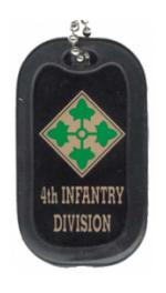 US Army 4th Infantry Division Dog Tag