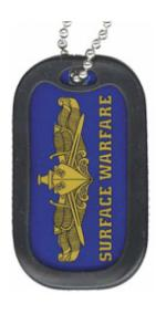 US Navy Surface Warfare Dog Tag with Officer Badge