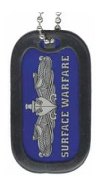 US Navy Surface Warfare Dog Tag with Enlisted Badge