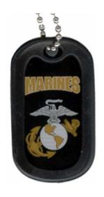 US Marine Corps Marines Dog Tag with Globe and Anchor