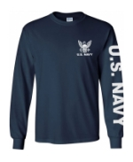 US Navy Long Sleeve Tee Shirt (Navy Blue)