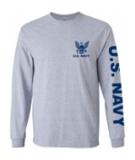 US Navy Long Sleeve Tee Shirt (Sport Grey)
