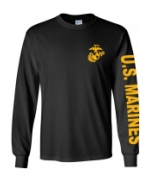 US Marines Long Sleeve Tee Shirt (Black)