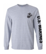 US Marines Long Sleeve Tee Shirt (Sport Grey)