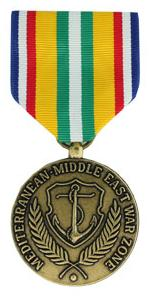 Merchant Marine Mediterranean-Middle East War Zone Medal (Full Size)