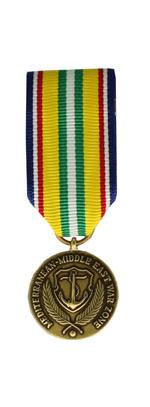 Merchant Marine Mediterranean-Middle East War Zone Medal (Miniature Size)